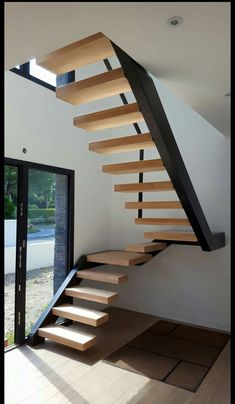 Home design ideas floor plans stairs 32 Ideas Flooring For Stairs, Wood Stairs, House Stairs, Metal Barn Homes, Metal Building Homes, Building Stairs, Building A House, Building Ideas, Pole Barn House Plans