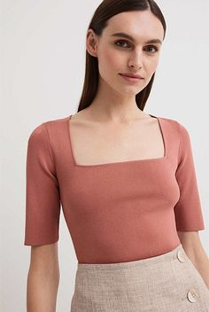 Square Neck Top, Pierce The Veil, Top Pattern, Work Fashion, Korean Fashion, Cool Outfits, Crop Tops, Knitting, Sleeves