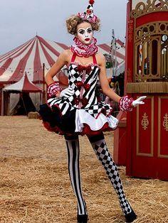 Sexy Deluxe Harlequin Clown Women's Costume