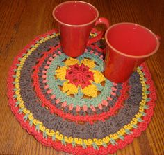 Large Fall Colors Mandala Style Placemat - Cotton Crochet