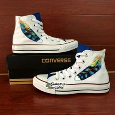 White Converse All Star Feather Hand Painted High Top Canvas Sneakers Painted Converse, White Converse, Converse Sneakers, Canvas Sneakers, Converse All Star, Sneakers Fashion, High Top Sneakers, Converse High, Running Shoes For Men