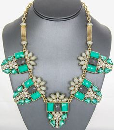 Mint and Gray Crystal Statement Necklace
