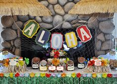 Luau Party. Like the grass skirt for table