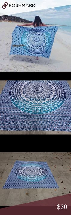 Beach spread yoga mat boho home decor festival use Wall hanging Bed Couch Cover   This beautiful couch cover/bed spread is hand screen printed on cotton fabric. Can be used a bedspread, Bed Sheets, couch spread, wall hanging or celling decoration. It will look great indoor or outdoor for little picnic or tipi for sleepover parties and music festivals.  Size: twin bed)    Material : 100% Cotton  Wash: Cold hand wash or Machine Delicates cycle & Air dry Note: please expect slight different on…