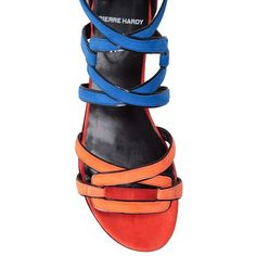 PIERRE HARDY Kaliste multicolored suede sandal ( 684) ❤ liked on Polyvore  featuring shoes e4ce0b054b2