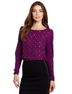 Vince Camuto Women`s Long Sleeve Allover Studded Blouse $77.40