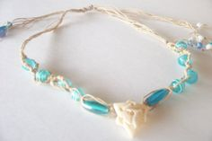 Handmade Hemp Necklace with Blue and White Glass by WildPinkRoses, $20.00