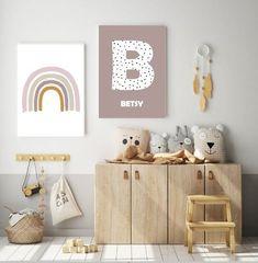 Set of 2 Initial Rainbow Print, Nursery Decor,Playroom Print, Nursery Prints, Personalised Prints, K Moon Nursery, Baby Nursery Decor, Nursery Room, Boy Room, Kids Bedroom, Nursery Prints, Scandi Bedroom, Bedroom Decor, Ideas Habitaciones