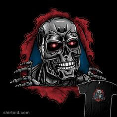 Terminator t-shirt by Andriu aka andresMvalle. Show everyone that you are a fan of the Terminator with this t-shirt. Terminator Tattoo, Terminator Movies, Skate Art, Skull Wallpaper, Sci Fi Horror, Great White Shark, Creature Feature, Movie T Shirts, Surf Art