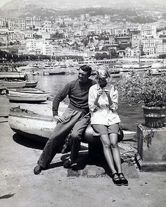 Cary Grant & Grace Kelly on the set of To Catch a Thief 1955