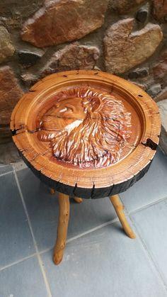 Lion Carved side table Log Furniture, Handmade Furniture, Reclaimed Timber, Wood Carving, Lion, Rustic, Table, Home Decor, Craftsman Furniture