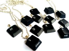 Customized initial repurposed keyboard necklace - for the nerds, geeks or your company's tech support team | junkinthetrunkstudio, $12.00