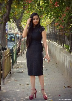 Black lace dress, Zara, fashion, style