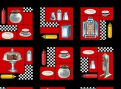 Today's Special Diner Things in Squares Cotton Fabric Fat Quarter #QuiltingTreasures