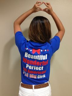Throw what you know with the best Bid Day shirt on campus. 'Merica.