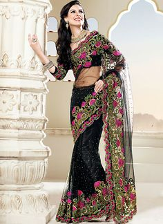 Dazzling Black Faux Georegtte Embroidered Net Designer Saree, Product Code: 3130, Shop Now : http://www.sareesaga.com/dazzling-black-faux-georegtte-embroidered-net-designer-saree-3130  Email :support@sareesaga.com, What's App or Call : +91-9825192886
