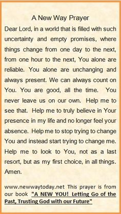 """For more prayers visit our website www.newwaytoday.net and click here http://www.amazon.com/New-Way-Today/e/B00CQBFO0W/ref=ntt_athr_dp_pel_1 for info on our book, """"A New You!"""""""
