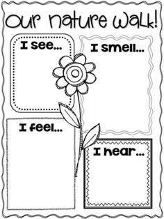 {Spring Writing Activities and Craft} Used this in a Spring unit I put together. The kindergarteners loved it!Used this in a Spring unit I put together. The kindergarteners loved it! Preschool Science, Science Classroom, Teaching Science, Kindergarten Activities, Writing Activities, Classroom Activities, 5 Senses Preschool, 5 Senses Activities, Nature Activities