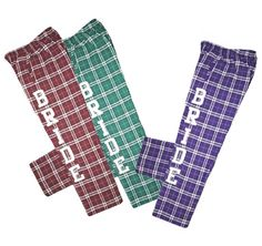 Bride Pajama Pants are perfect for the bride to wear while enjoying her honeymoon. With pockets on each side, these pants are the most perfect, comfy, lounge pants. Bride Gifts, Wedding Gifts, Newlywed Gifts, Lounge Pants, Newlyweds, Cool Gifts, Pjs, Pajama Pants, Deck