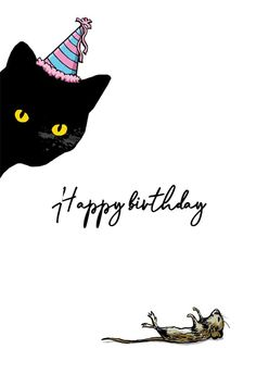 Cat Mouse Birthday - Happy Birthday Card #greetingcards #printable #diy #birthday Cat Birthday, Happy Birthday Cards, Printable Cards, Printables, Birthday Card Template, Cat Mouse, Create Yourself, Greeting Cards, Stamp