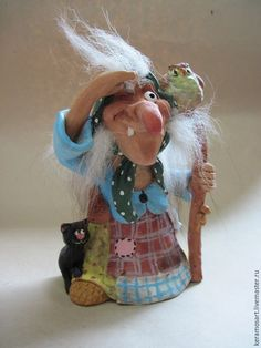 Купить Баба Яга с помощниками (ведунья) - разноцветный, ручная работа, ручная работа handmade