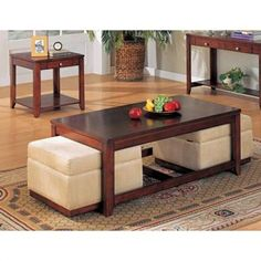 YT Furniture - Adelia Coffee Table with Storage Ottomans and End Tables Set Coffee Table With Seating, Leather Ottoman Coffee Table, Storage Ottoman Coffee Table, Coffee Tables, Diy Ottoman, Table Storage, Bedroom Furniture Sets, Cool Furniture, Furniture Design