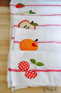Fruit applique and embroidery, free pattern: