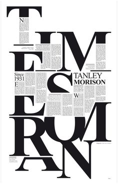 The font is Times New Roman. created by Victor Lardent at the English branch of Monotype. awesome use of letters as object and text block of information.