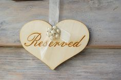 Rustic Chic Engraved Reserved Sign with Pearl by MyRusticWeddings, $12.00