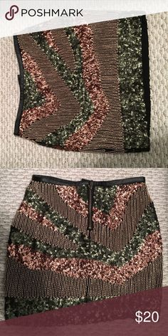 Sequined lined mini skirt Skirt is very flashy! Great for a night out or the holiday season. Worn only once. In great condition. All sequins and beads are in tact. Zippered back H&M Skirts Mini