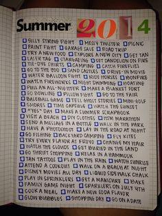 Summer 2014 bucket list, summer scrapbook + journaling