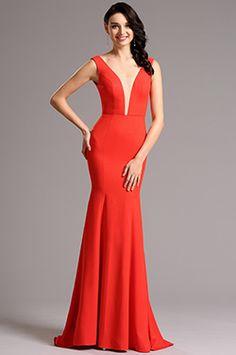 eDressit Sleeveless V Neck Red Formal Dress Evening Gown (00160802)