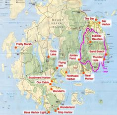 """Official map of Acadia National Park, Maine. """"Except for one mainland section, Acadia Acadia National Park Map, National Parks Map, Maine New England, New England Travel, Camping San Sebastian, Southwest Usa, Southwest Harbor Maine, Winter Outfits, Camping First Aid Kit"""