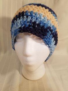 Handmade crochet womans hat beanie varigated blue and cream stripe 08658a9455fa