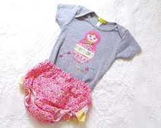 Matryoshka Doll Onesie Pink and Grey Handmade by ChirpAndBloom, $32.00