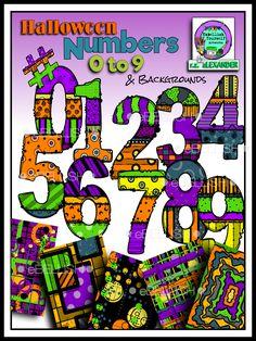 Colorful Halloween numbers 0-9 clipart created by rz aLEXANDER, eMBELLISH yOURSELF aRTWORKS! https://www.teacherspayteachers.com/Store/Rz-Alexander