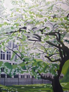 Spring in Copenhagen - Tree with white flowers - Almost monochrome by Marie Jungersen