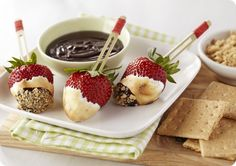 Driscoll's Strawberry and Dark Chocolate S'Mores. Bite size perfect! www.driscolls.com