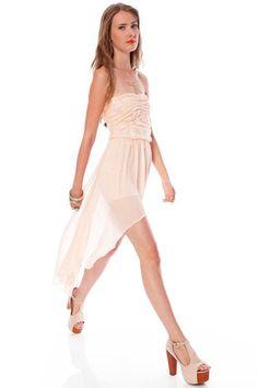 Serena Laced Hi-Low Dress in Light Pink $47 at www.tobi.com