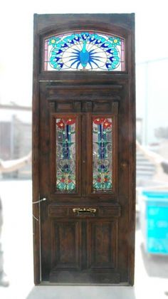 Heart pine entry door w/ stained glass windows/peacock trans