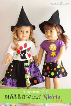 Free American Girl Doll clothes pattern to make two different doll skirts from realcoake.com
