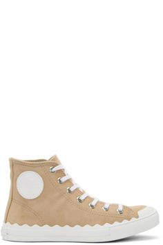 High-top chamois suede sneakers in 'reef shell' beige. Round toe. White lace-up closure. White leather logo patch at outer side. Eyelet vents at inner side. Tonal leather lining. Scalloped edge at welt. Rubber midsole in white. Gum rubber sole in tan. Silver-tone hardware. Tonal stitching.