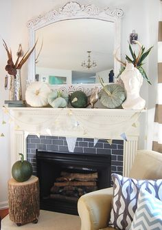 Love the fall decor in light colors!