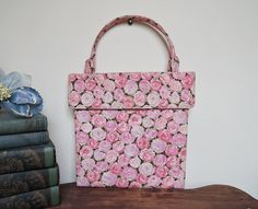 Pink and Lavender Flowers - Pretty Vintage 1950s Rose Print Fabric Purse  - $28.00 by dandelionvintage