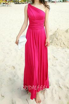 elegant one-shoulder sleeveless magenta empire long chiffon bridesmaid dress