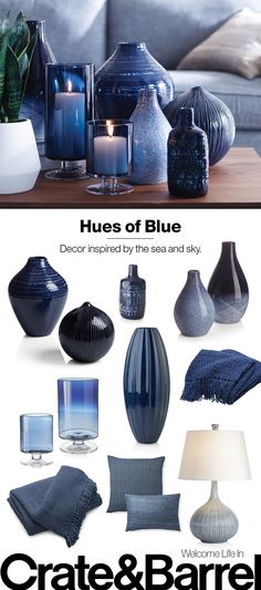 Stay true to blue with deep-sea glazed vases, sea-toned textiles and sky blue glass. Room Ideas Bedroom, Bedroom Decor, Bedroom Inspo, Table En Verre Design, Vintage Home Decor, Diy Home Decor, Vintage Diy, Vintage Kitchen, Interior Design Living Room