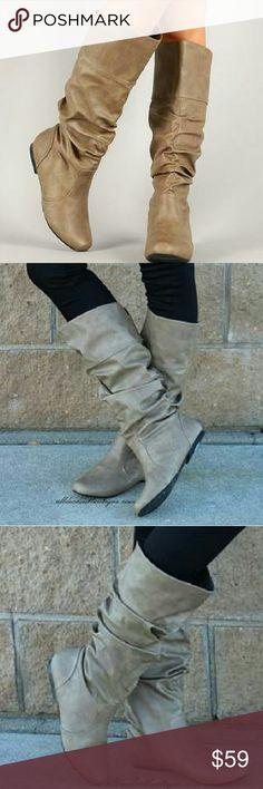 "Qupid Boot Taupe Qupid | Neo Mid-Calf Slouchy Boot Taupe  Qupid Neo Mid-Calf Slouchy Boot brings out the elegance in fashion footwear with,?Faux-leather upper. 16"" shaft height. Regular calf: 15"" shaft circumference. Wide calf: 17"" shaft circumference. Round toe.?Fabric lining. Slightly padded foot bed. Textured rubber sole.  Measurements are approximate and may vary slightly by size.Due to the burnished and hand-finished material used on this boot, the actual color may vary slightly from…"
