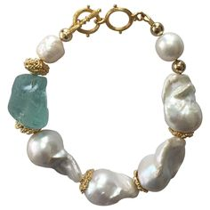 Farra - Natural Baroque Pearls & Green Fluorite Bracelet jewelry Natural Baroque Pearls & Green Fluorite Bracelet by Farra Geode Jewelry, Star Jewelry, Jewelry Bracelets, Jewelry Gifts, Jewellery, Pearl Bracelets, Ankle Bracelets, Fine Jewelry, Necklaces