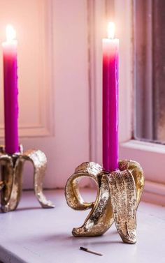 Browse thousands of products including the Gold Banana Candle Holder. Gold Candle Holders, Candle Box, Votive Holder, House Color Schemes, House Colors, Colourful Lounge, Kitsch Decor, Barker And Stonehouse, Glass Candlesticks