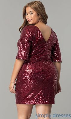 Image of sleeved plus-size short sequin holiday party dress. Style: Back Image Plus Size Holiday Dresses, Plus Size Ivory Dresses, Plus Size Cocktail Dresses, Plus Size Party Dresses, Long Cocktail Dress, Holiday Party Dresses, Christmas Dresses, Satin Bodycon Dress, Sequin Dress
